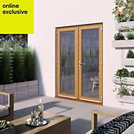 1 Lite Clear 2 panel Golden oak Hardwood External French door, (H)2094mm (W)1494mm
