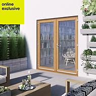 1 Lite Clear 2 panel Golden oak Hardwood External French door, (H)2094mm (W)1794mm