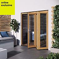 Golden Oak Hardwood Glazed Patio door set, (H)2104mm (W)1804mm