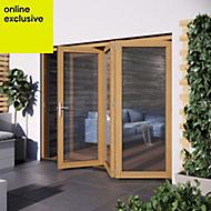 Golden Oak Hardwood Glazed Patio door set, (H)2104mm (W)2404mm