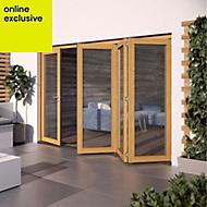 Golden Oak Hardwood Glazed Patio door set, (H)2104mm (W)3004mm