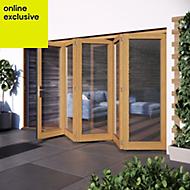 Golden Oak Hardwood Glazed Patio door set, (H)2104mm (W)3504mm