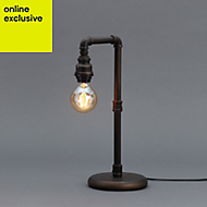 Inlight Parel Pipe Matt Bronze effect Incandescent Table lamp