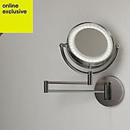 Jenolan Illuminated Bathroom Circular Extendable mirror (W)190mm (H)190mm
