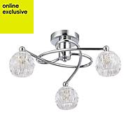 Chandler Brushed Chrome effect 3 Lamp Ceiling light