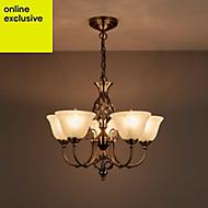 Rolli Antique brass effect 5 Lamp Pendant Ceiling light