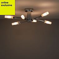 Langa Brushed Chrome effect 6 Lamp Ceiling light