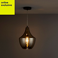 Honor Smoked Antique brass effect Pendant Ceiling light