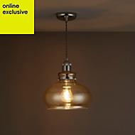 Drew Antique brass effect Pendant Ceiling light