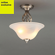 Rolli Brushed Nickel effect 2 Lamp Ceiling light