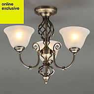 Rolli Brushed Antique brass effect 3 Lamp Ceiling light