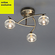 Allyn Brushed Antique brass effect 3 Lamp Ceiling light