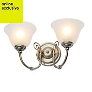 Rolli Antique brass effect 2 Lamp Wall light