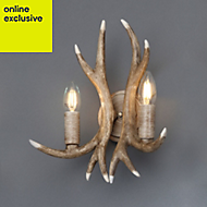 Hela Antler Wooden Double wall light