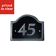 Black Aluminium 120mm House plate number 45
