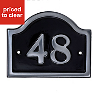 Black Aluminium 120mm House plate number 48
