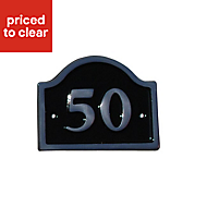Black Aluminium 120mm House plate number 50