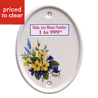 White Ceramic Oval 160mm House number