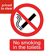 No smoking in the toilets Self-adhesive labels, (H)200mm (W)150mm