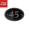 Black Brass 120mm House plate number 45
