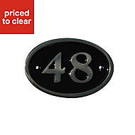 Black Brass 120mm House plate number 48