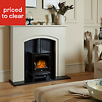 Rotherham Black Textured stone effect Electric stove suite