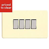Varilight 10A 2 way Gloss white chocolate Quadruple Light Switch