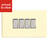 Varilight 10A 2 way Gloss white chocolate Quadruple Light Switch