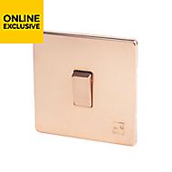 Varilight 10A 2 way Polished copper effect Single Light Switch