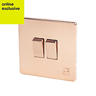 Varilight 10A 2 way Polished copper effect Double Light Switch