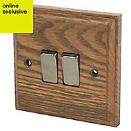 Varilight 10A 2 way Brown Oak effect Double Light Switch