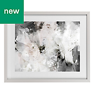 Abstract floral Grey, pink & white Framed art (W)530mm (H)430mm