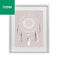 Dream catcher Grey, pink & white Framed art (W)330mm (H)430mm