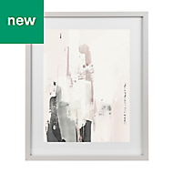 Abstract Grey, pink & white Framed art (W)330mm (H)430mm