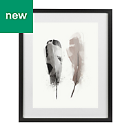 Feathers Grey & pink Framed art (W)330mm (H)430mm
