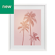 Tropical palms Pink Framed art (W)530mm (H)730mm