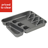 Curver Plastic Stainless steel effect Cutlery tray, (H)44mm (W)262mm