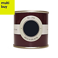 Farrow & Ball Estate Pitch black No.256 Emulsion paint 0.1L Tester pot