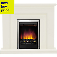 Be Modern Francis Soft white Chrome effect Electric Fire Suite