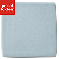 Padstow Sky blue Gloss Concrete effect Ceramic Wall tile, (L)100mm (W)100mm, Sample