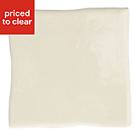 Padstow Cream Gloss Stone effect Ceramic Wall tile, (L)100mm (W)100mm, Sample
