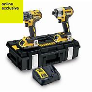 DeWalt XR 2Ah Li-ion Combi drill & impact driver 2 batteries DCK266D2-GB