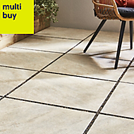 Quartzite Beige Matt Stone effect Porcelain Outdoor Floor tile, Pack of 2, (L)600mm (W)600mm