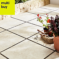 Egypte stone Cream Matt Stone effect Porcelain Outdoor Floor tile, Pack of 2, (L)600mm (W)600mm