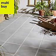 Aged Grey Matt Stone effect Porcelain Outdoor Floor tile, Pack of 8, (L)200mm (W)200mm