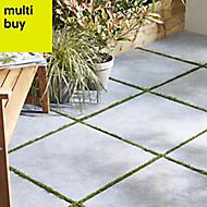 Belgium Anthracite Matt Stone effect Porcelain Outdoor Floor tile, Pack of 2, (L)600mm (W)600mm
