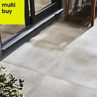 Konkrete Grey Matt Concrete effect Porcelain Outdoor Floor tile, Pack of 3, (L)610mm (W)610mm