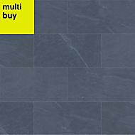 Slate Anthracite Matt Stone effect Porcelain Outdoor Floor tile, Pack of 6, (L)600mm (W)300mm