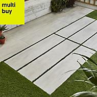 Vintage White Matt Wood effect Porcelain Outdoor Floor tile, Pack of 2, (L)1195mm (W)297mm
