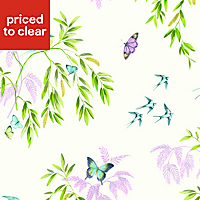 Arthouse Vintage Halcyon days Cream Birds, butterflies & trees Glitter effect Wallpaper